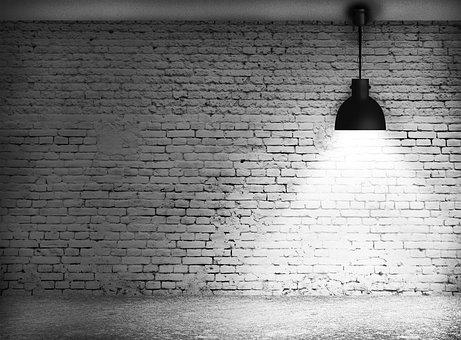 Wall Block, Light, Wall, Block, Black And White