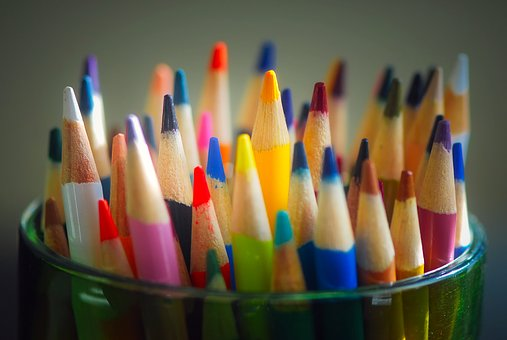 Pencils, Colored, Colors, Shades, Cup, Holder, Macro