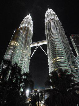 Kuala Lumpur, Malaysia, Asia, Petronas Tower, Night