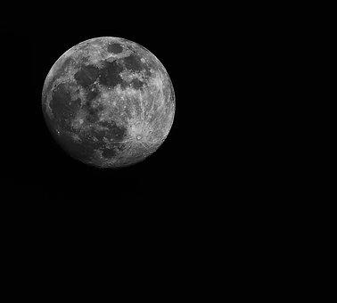 Moon, Full Moon, Night, Celestial Body, Black And White