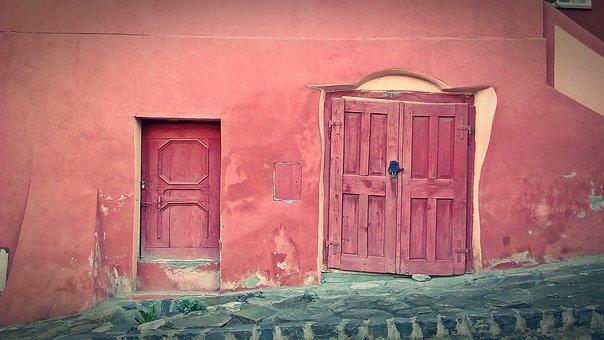 Old, Wooden, Color, Table, Medieval, Segesvar, City