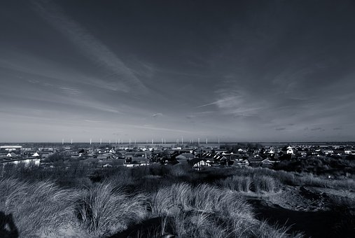 Uk, Beach, Sky, Black And White, Sand Dunes, Town
