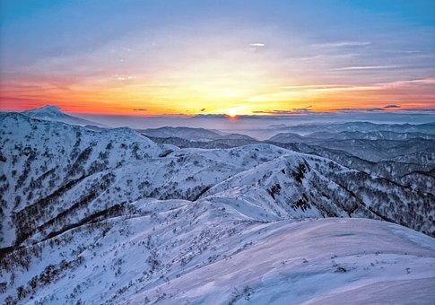 Mountains, Snow, Sunrise, Shirakami-sanchi