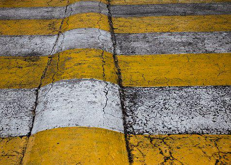 Crossroad, Road, Yellow, White, Double Color, Sign