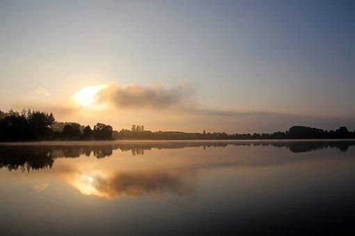 Losheimer Reservoir, Silent Lake, Morning Sun, Nature