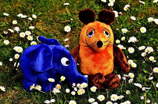 Mouse, Elephant, Soft Toy, Teddy Bear, Stuffed Animal
