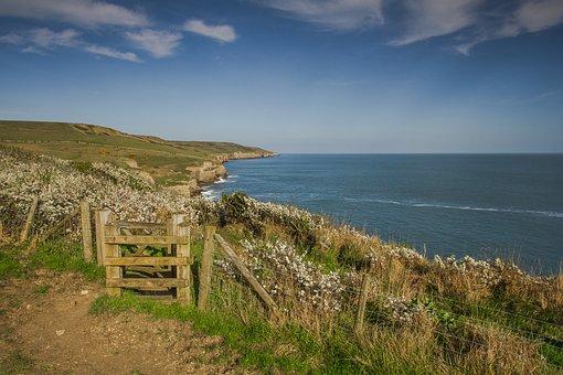 Coast, Walkway, Outlook, Ocean, Dorset, England