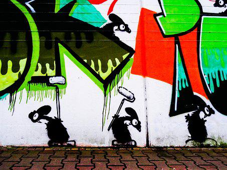 Graffiti, Mouse, Mice, Decoration, Painted, Wall, Art