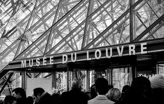 Paris, Louvre, Musée, Museum, Entrance, White, Nero
