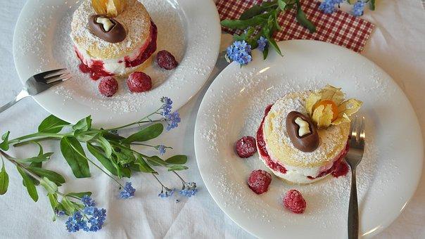 Bisquit, Cake, Cake Cuts, Raspberries, Dessert, Cream