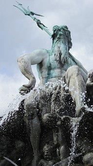 Berlin, Alexanderplatz, Fountain Of Neptune, Fountain