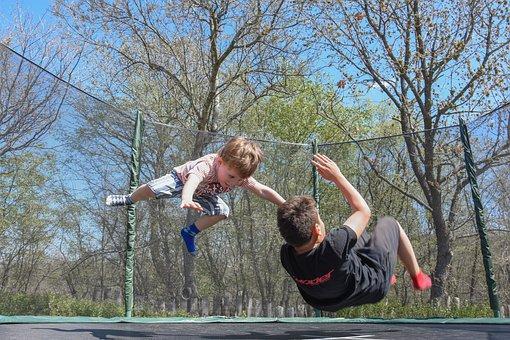 Kids, Playing, Fun, Outdoor, Jumping, Kids Playing