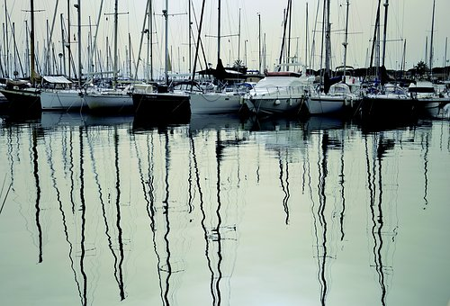 Sailboats, Moored, Jetty, Water, Highlights, Peaceful