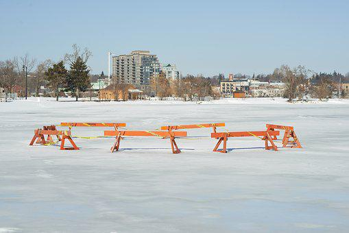 Ice, Lake, Winter, City, Canada, Ontario, Barrie