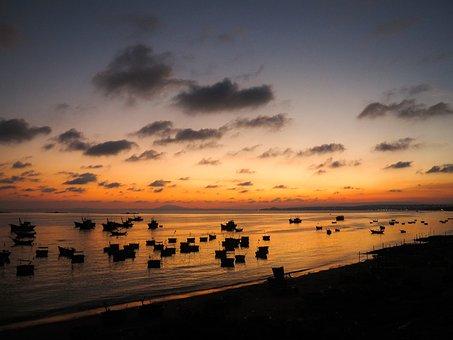 Sunset, Sea, Fishermen, Boats, Evening, Landscape, Boat
