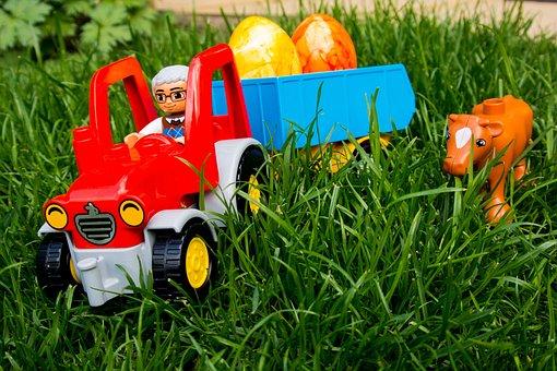 Easter Egg, Easter, Lego, Duplo, Tractor, Harvest, Egg
