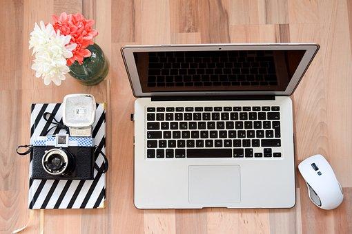 Laptop, Mouse, Workplace, Home Office, Apple, Keys, Mac