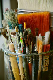 Brush, Paint, Maluntensilien, Art, Hair Brush, Blue