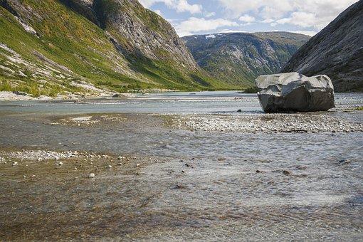 Norway, Landscape, Glacier River, Rock