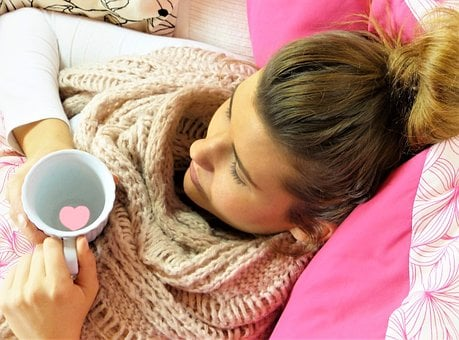 Young Woman, Girl, Concerns, Rest, Pillow, Pink, Cup