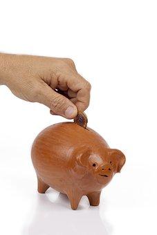 Hand, Money, White Background, Vault, Save, Savings