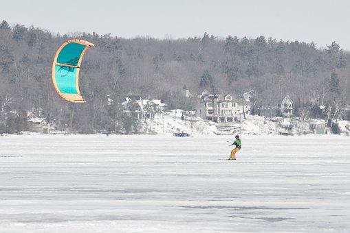 Wind Surfing, Lake, Winter, Kite, Sky, Kiteboard, Air