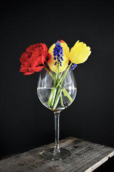 Flowers, Wine Glass, Bouquet, Wooden Crate, Tulips