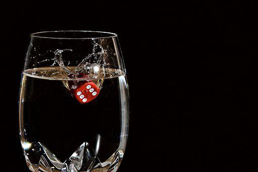 Drop Of Water, Glass, Cube, Water, Wine, Cup