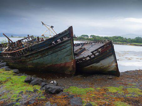 Mull, Wreck, Wheelhouse, Boat, Fishing, Scotland, Old