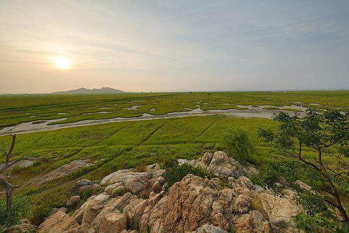 Can Island, Sunset, Songshan City, Blue Meadow