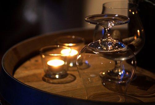 Candles, Cognacglas, Living Light, Comfort