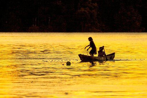 Sister, Evening, Fish Caught, Dugout Canoe