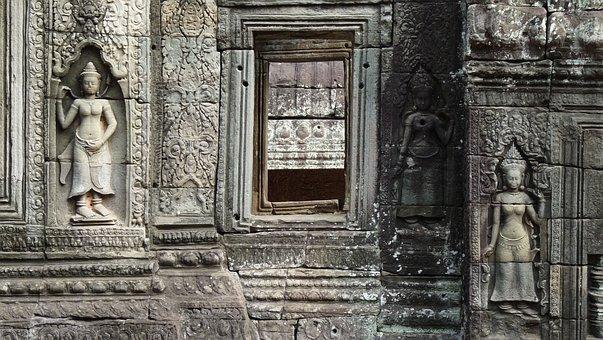 Cambodia, Temple, Angkor, Statue, Ruins, Goddess, Women