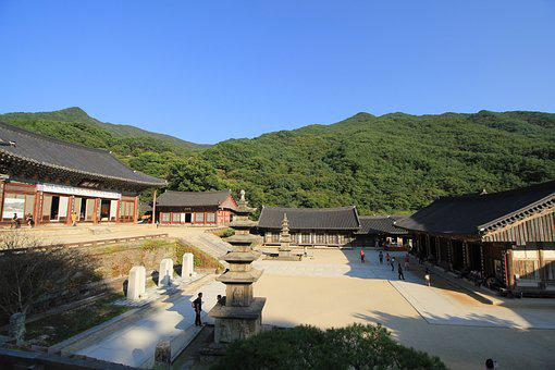 Korea, Gurye, Hwaeomsa, Eighteen, Section, Sky, Autumn