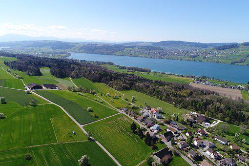 Halwilersee, Lake, Aerial View, Bank, Mountains