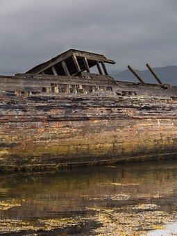 Wreck, Scotland, Mull, Wood, Boat, Rusty, Wooden