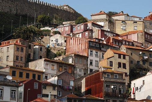 People, Hillside, Houses, Facades