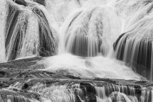 Waterfall, Ripple, Silky, Black And White, Bubble
