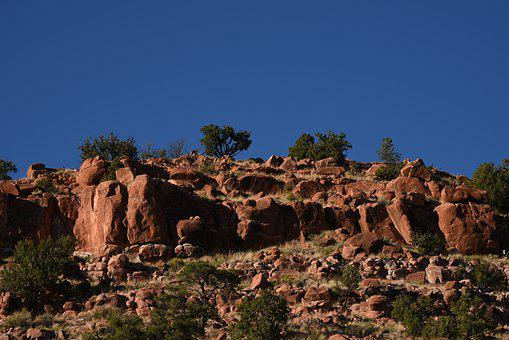 Desert, Mountains, Rock, Scenic, Blue Sky, Treeline