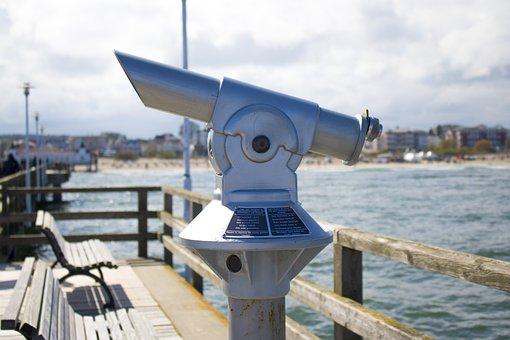 View Tube, Binoculars, Ahlbeck, Sea Bridge