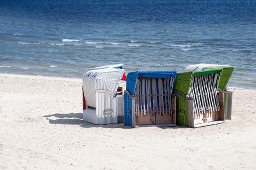 Clubs, Sea, Sand, North Sea, Coast, Beach, Beach Chair