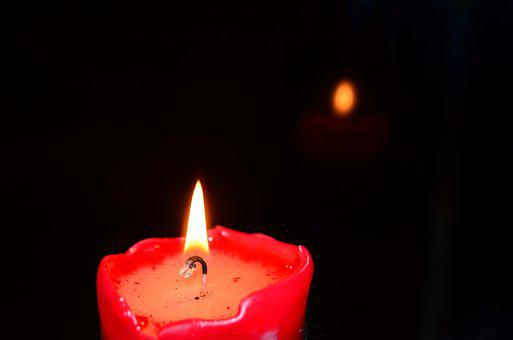 Candle, Burns, Red Candle, Shadow, Black, Reflection