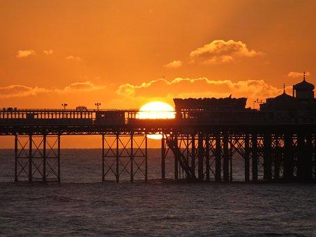 Sunrise, Brighton, Brighton Palace Pier, Beach, Sky