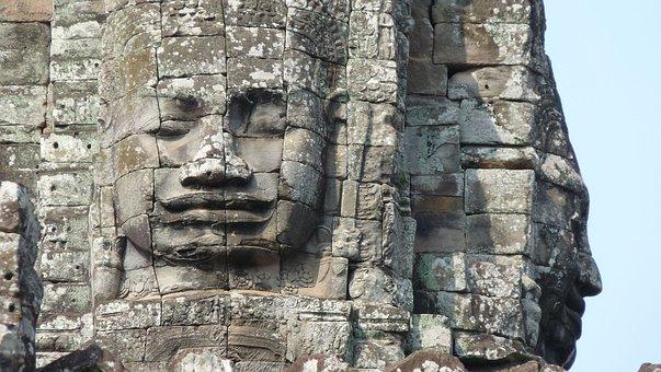 Cambodia, Angkor, Temple, Siem Reap, Face, Ruin