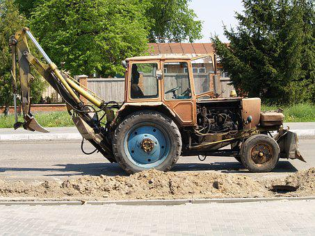 Tractor, Road Repair, Construction Equipment