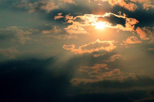 Sun, Clouds, Gold, Yellow, Sun Rays, Morning, Sun Rise