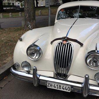 Auto, Retro, Jaguar, White, Oldtimer, Automotive
