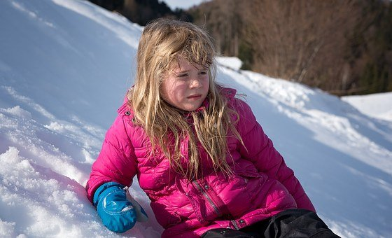 Child, Girl, Blond, Winter, Snow, Exhausted, Wet, Out