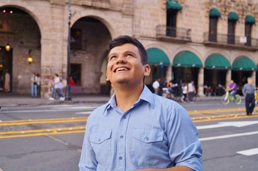 Historic Centre, Morelia, Michoacán, Man, Blue Shirt