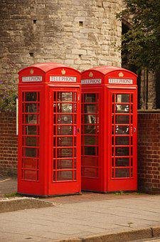 Telephone, Booth, Red, Retro, Britain, England, Box